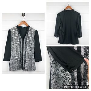 ~Antonio Melani~ Black & White Paisley Blouse